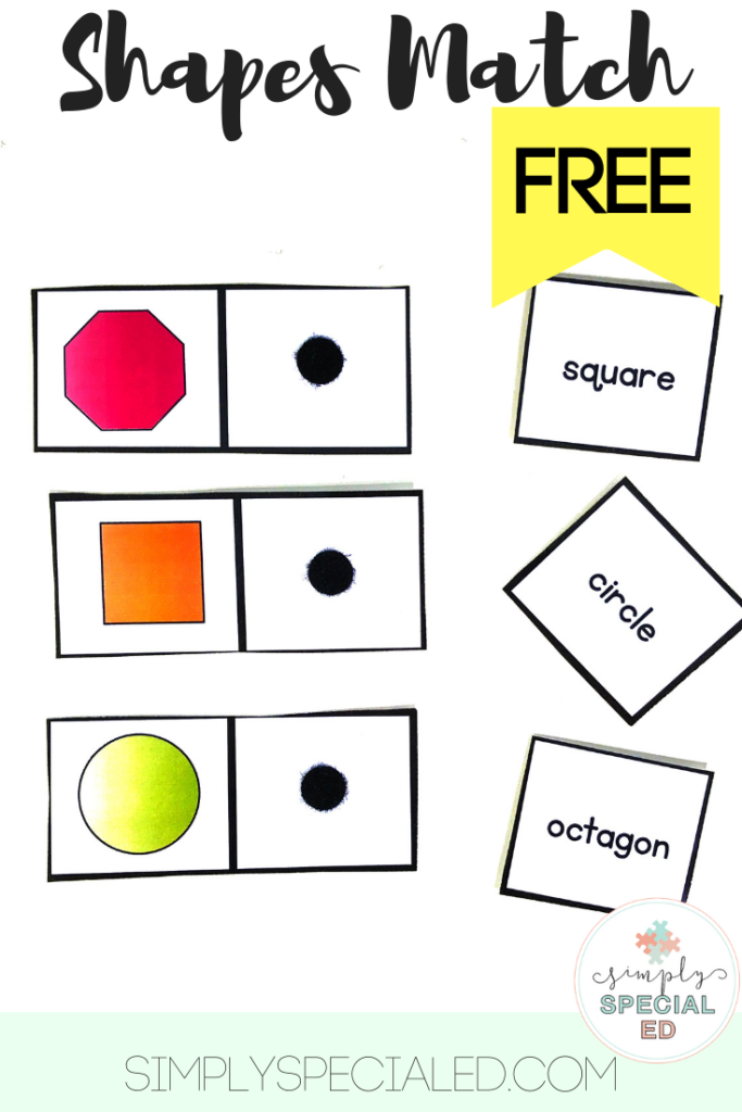 FREE Shapes Match - Simply Special Ed