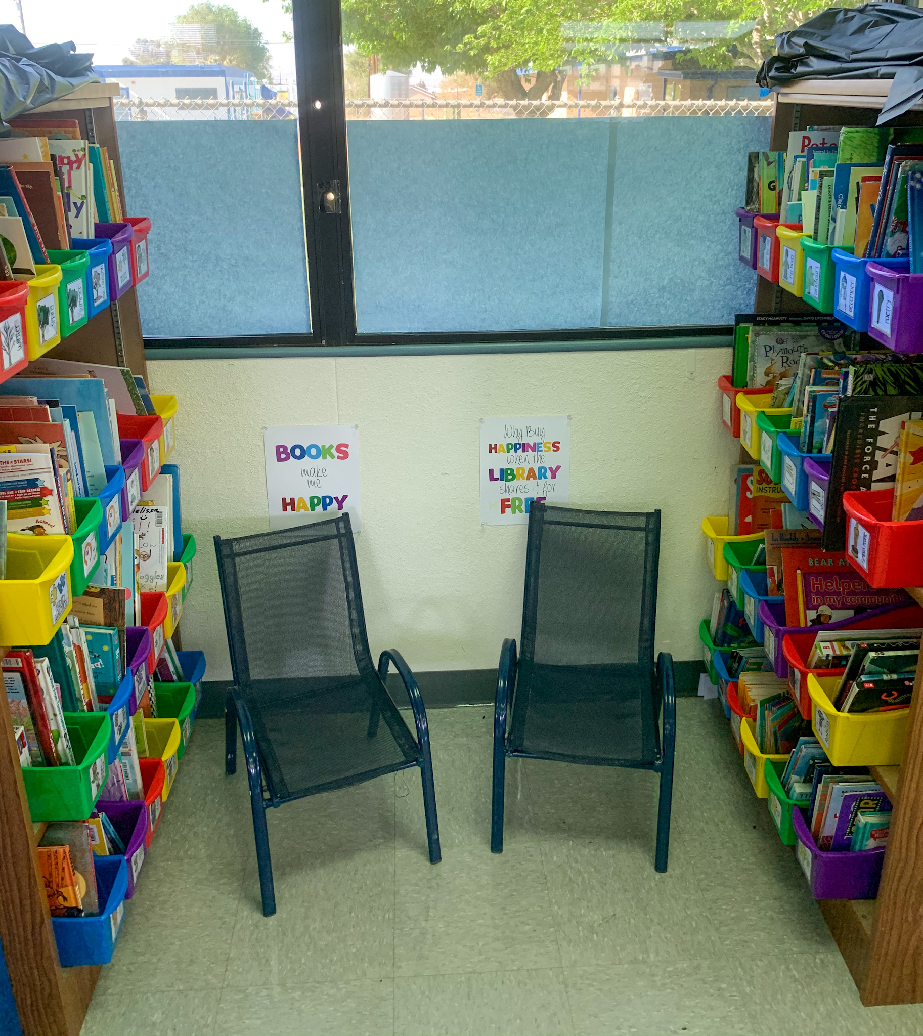 This is a photo of my classroom library.  A pride and joy of my room.