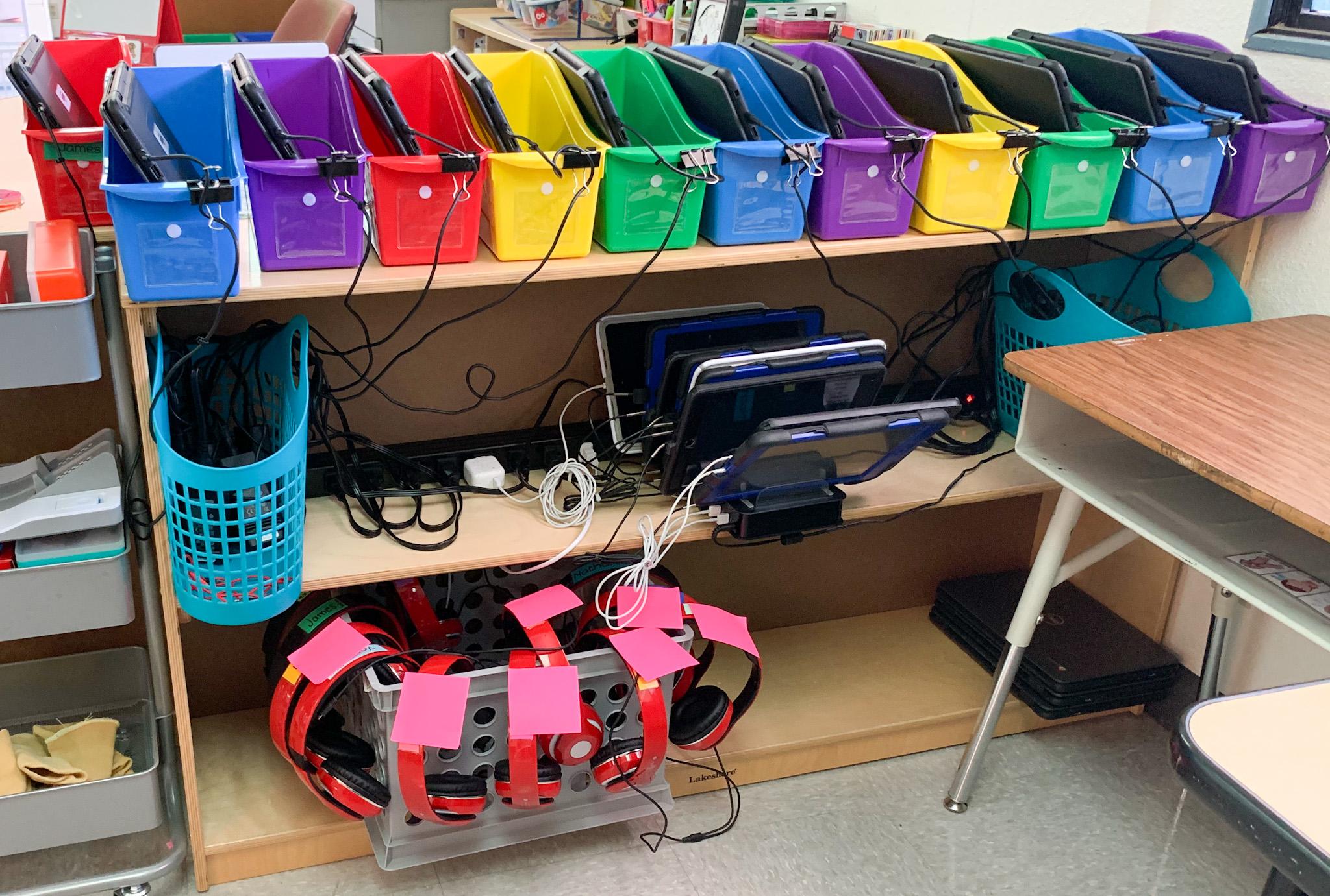 Here is how I organize my technology (iPads, Chromebook, headphones)