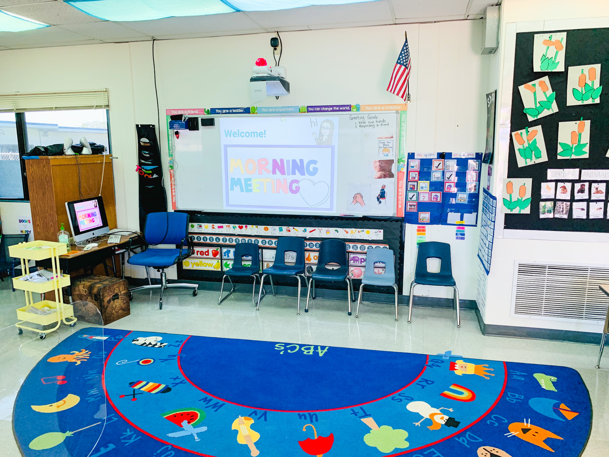 Here is our class hub where we have morning meeting and whole group throughout the day.