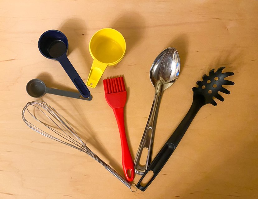 A variety of spoons and measuring cups