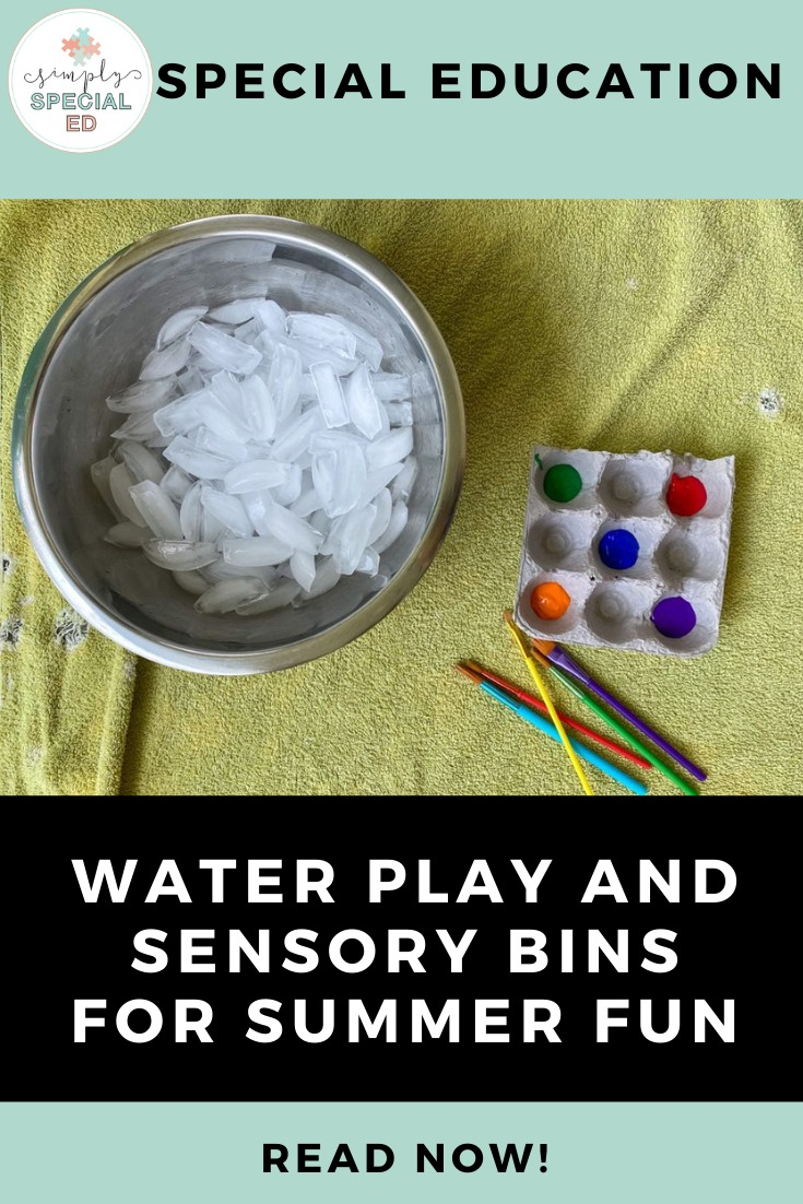 Water Play and sensory Bins for Summer Fun Pin featuring a bowl of icecubes and paint